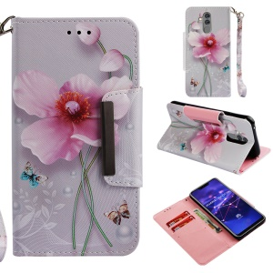 Pattern Printing Cross Texture Leather Wallet Case for Huawei Mate 20 Lite - Pink Flowers