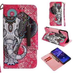 Pattern Printing Cross Texture Leather Wallet Cover for Huawei Mate 20 Lite - Elephant