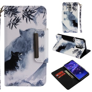 Pattern Printing Cross Texture Leather Wallet Phone Case for Huawei Mate 20 Lite - Wolf