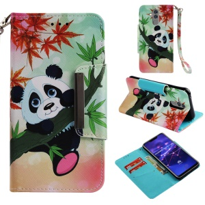 Pattern Printing Cross Texture Leather Wallet Cover Shell Case for Huawei Mate 20 Lite - Panda