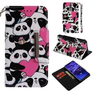 Pattern Printing Cross Texture Wallet Leather Stand Case for Huawei Mate 20 Lite - Panda and Heart