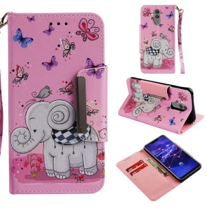Pattern Printing Cross Texture Wallet Leather Stand Cover for Huawei Mate 20 Lite - Elephant and Butterfly