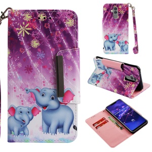 Pattern Printing Cross Texture Leather Wallet Stand Case for Huawei Mate 20 Lite - Elephant and Flowers