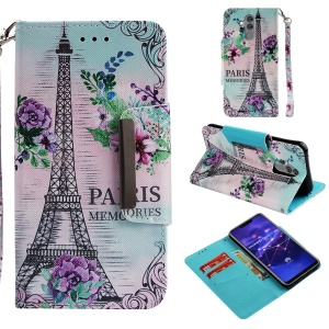 Pattern Printing Cross Texture Wallet Leather Protection Case for Huawei Mate 20 Lite - Eiffel Tower