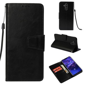 Retro Style PU Leather Wallet Stand Phone Cover for Huawei Mate 20 Lite - Black