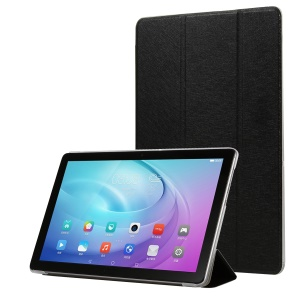 Silk Texture Tri-fold Stand PU Leather Tablet Case for Huawei MediaPad T5 10 - Black