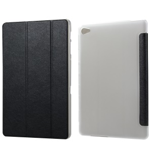 Silk Texture Tri-fold Stand Leather Protection Case for Huawei MediaPad M5 lite 10 / C5 10 - Black