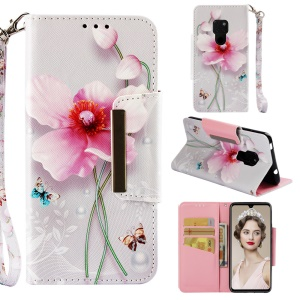 Pattern Printing Cross Texture Leather Wallet Case for Huawei Mate 20 - Pink Flowers
