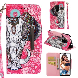 Pattern Printing Cross Texture Leather Wallet Cover for Huawei Mate 20 - Elephant