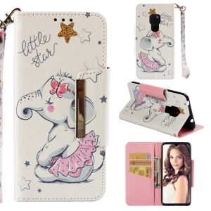 Pattern Printing Cross Texture Leather Wallet Case Cover for Huawei Mate 20 - Elephant and Stars