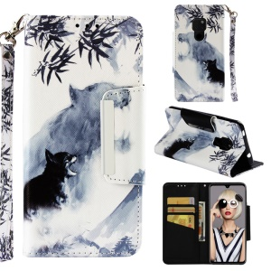 Pattern Printing Cross Texture Leather Wallet Shell Case for Huawei Mate 20 - Wolf