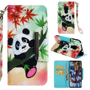 Pattern Printing Cross Texture PU Leather Wallet Case for Huawei Mate 20 - Panda