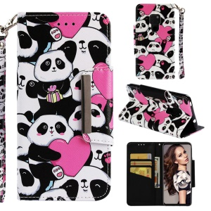 Pattern Printing Cross Texture Magnetic Leather Wallet Case for Huawei Mate 20 - Panda and Heart