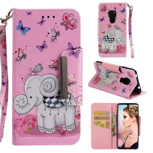 Pattern Printing Cross Texture Magnetic Leather Stand Case for Huawei Mate 20 - Elephant and Butterfly