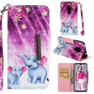Pattern Printing Cross Texture Magnetic Leather Stand Cover for Huawei Mate 20 - Elephant and Flowers