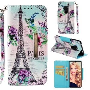 Pattern Printing Cross Texture Stand Leather Wallet Case for Huawei Mate 20 - Eiffel Tower