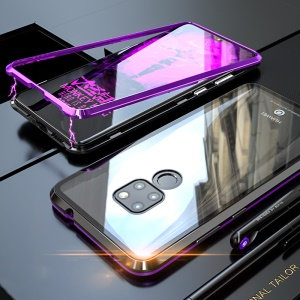 Detachable Magnetic Metal Frame + Tempered Glass Back Hybrid Case for Huawei Mate 20 - Black / Purple
