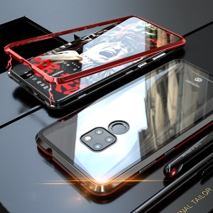 Detachable Magnetic Metal Frame + Tempered Glass Back Hybrid Cover for Huawei Mate 20 - Black / Red