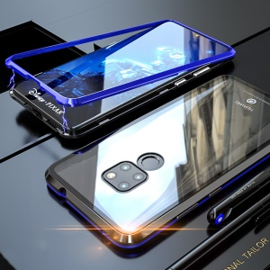 Detachable Magnetic Metal Frame + Tempered Glass Back Combo Case for Huawei Mate 20 - Black / Blue