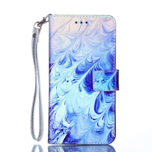[Laser Carving] Patterned Leather Protection Casing for Huawei P Smart (2017) / Enjoy 7S - Waves Pattern