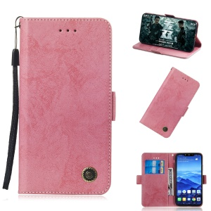 For Huawei Mate 20 Lite Vintage Style Wallet Stand Leather Phone Cover - Pink
