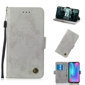 Vintage Style Leather Wallet Case for Huawei Honor 8C - Grey