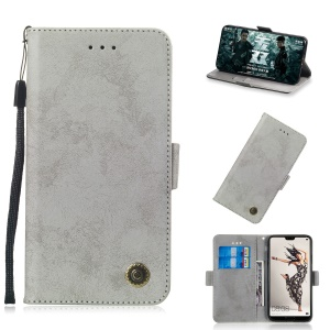 Vintage Style Leather Wallet Case for Huawei P20 Pro - Grey