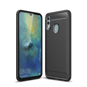 Carbon Fiber Texture Brushed TPU Mobile Phone Case for Huawei P Smart (2019) / Honor 10 Lite - Black