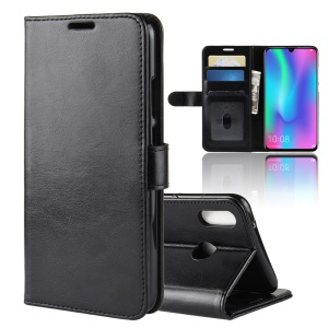 Crazy Horse Magnetic Leather Wallet Case for Huawei Honor 10 Lite/P Smart (2019) - Black