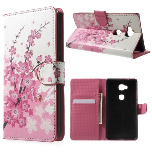 Wallet Stand Leather Shell for Huawei Honor Play 5X / Honor 5X - Plum Blossom