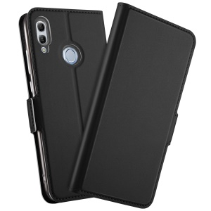 Auto-absorbed Leather Card Holder Case with Stand for Huawei Honor 10 Lite / P Smart (2019) - Black