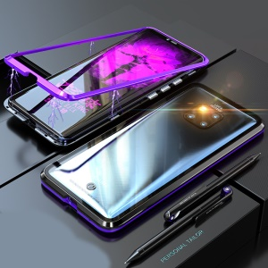 Detachable Magnetic Metal Frame + Tempered Glass Back Protective Cover for Huawei Mate 20 Pro - Purple / Black