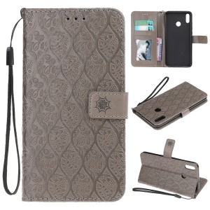 Imprint Leaf Wallet Leather Stand Case with Strap for Huawei Honor 8X/Honor View 10 Lite - Grey