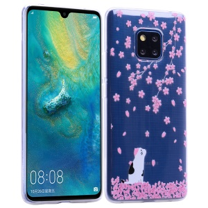 Pattern Printing TPU Soft Case for Huawei Mate 20 Pro - Cat and Flowers