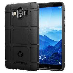 Rugged Square Grid Texture Soft TPU Anti-shock Case for Huawei Mate 10 - Black