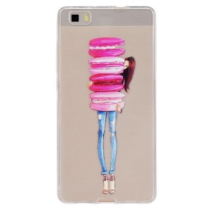 Embossing Printing TPU Back Case for Huawei Ascend P8 Lite - Girl Holding Macaron