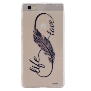 Embossing Printing TPU Back Cover for Huawei Ascend P8 Lite - Writing in Feather