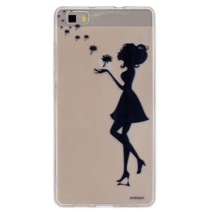 Embossing Printing TPU Back Phone Case for Huawei Ascend P8 Lite - Girl Playing with Dandelion