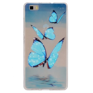 Embossing Printing TPU Phone Shell Cover for Huawei Ascend P8 Lite - Blue Butterflies