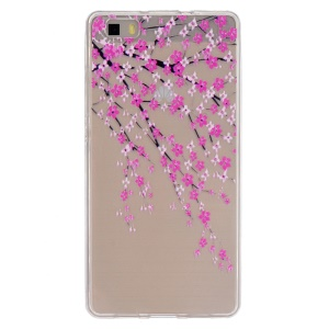 Embossing Printing TPU Protective Cover for Huawei Ascend P8 Lite - Peach Blossom