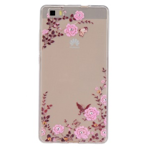 Embossing Printing TPU Case Cover for Huawei Ascend P8 Lite - Flowers and Butterflies