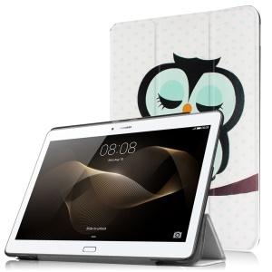 Tri-fold Stand Smart Leather Shell for Huawei MediaPad M2 10.0 - Dozing Owl