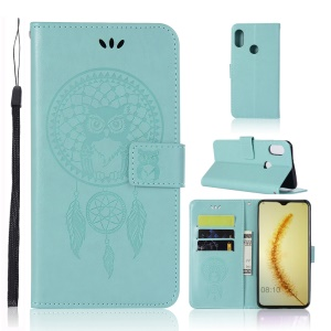 Imprint Owl Dream Catcher Wallet Stand Leather Protective Cover for Huawei Honor 10 Lite / P Smart (2019) - Cyan