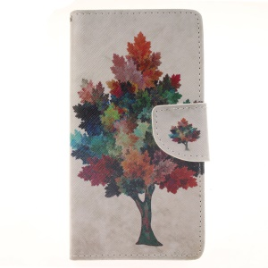 Wallet Leather Stand Case for Huawei Ascend P8 Lite - Colorful Tree