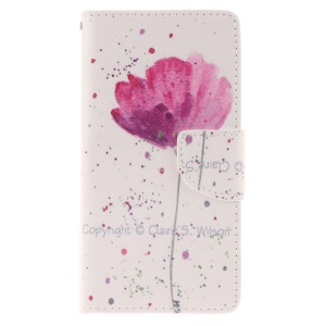 Magnetic Leather Stand Cover for Huawei Ascend P8 Lite - Beautiful Flowers