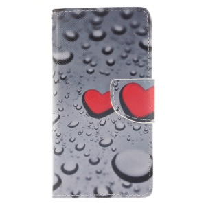 Leather Stand Case with Card Slots for Huawei Ascend P8 Lite - Hearts and Raindrop