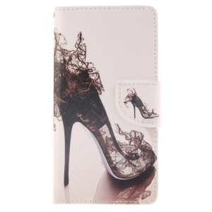 Wallet Leather Stand Case for Huawei Ascend P8 Lite - High-heeled Shoes