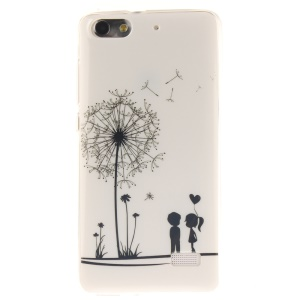 IMD Soft TPU Gel Phone Back Cover for Huawei Honor 4C - Lover and Dandelion