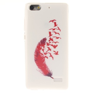 IMD Soft TPU Gel Protective Cover for Huawei Honor 4C - Red Feather and Birds