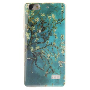 IMD Soft TPU Gel Phone Case Cover for Huawei Honor 4C - Tree with Flowers